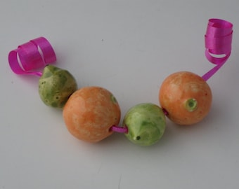 Orange and lime fruit beads
