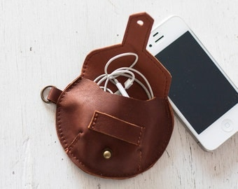 Earphones leather case, earbuds pouch headphone holder cable holder organizer earphone keeper coin purse