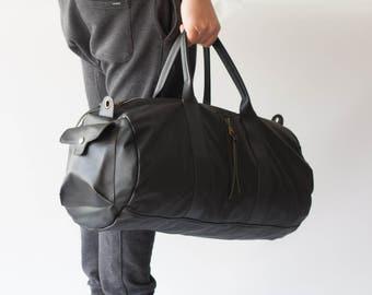 Black mens duffle bag, travel bag mens gym bag duffel bag mens carry on bag weekender bag crossbody bag - Nestor duffel bag