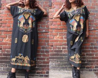 Vintage 90's Beaded Egypitian Smock Dress