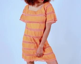 Vintage Orange Summer Beach Dress
