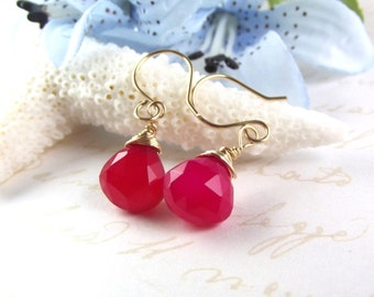 Bridesmaids Hot Pink Chalcedony Earrings - AdoniaJewelry