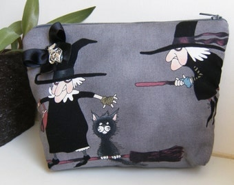 Witch   fabric  purse, make up bag , crafts  , handmade,Claudia Candeias, ready to ship