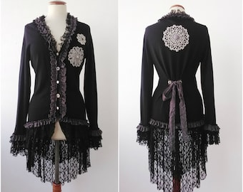 Black  coat with grey decorations , gothic  styles, Boho, reworked, refashioned, Upcycling by Cláudia Candeias