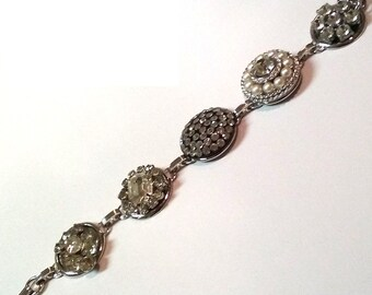 Collaged Rhinestone and Pearl Bracelet 7 1/2 inches