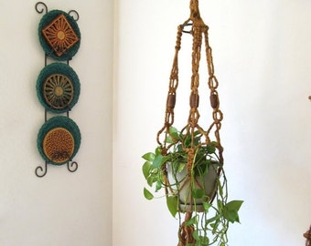 ON SALE Vintage Macrame Plant Hanger 1970s