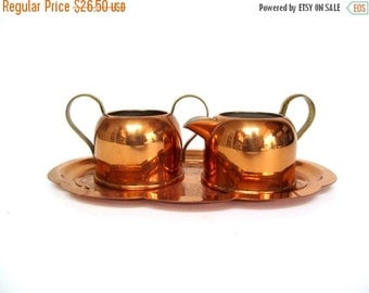 ON SALE Vintage Copper Tray Sugar Bowl and Creamer by Coppercraft Guild