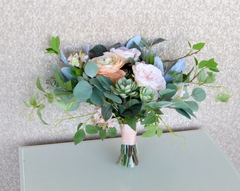 Custom Order for Holly - Partial Payment | Lush Greenery Wedding Bouquet | Peach and Sage Green | Succulent Bridal Bouquet