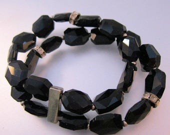 SALE Now On Ends 4/3/17 Vintage Black Faceted Glass Bead Bracelet Double Strand Stretch with Rondelles Fit Small & Large Wrists Costume Jewe