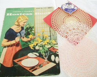 1956 First Edition Hostess Booklet, with 3 Plastic Lace Doilies