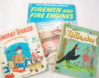 SALE - 3 Books for Boys, 1950s, 1960s, Timothy Tiner, Hello Joe, Fire Engines