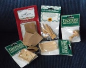 DOLL HOUSE MINIATURES Collection, Miscellaneous Wooden Kitchen Items, Mini Serving Trays, Paper Bags, Mini Lamp, Unfinished, New In Package