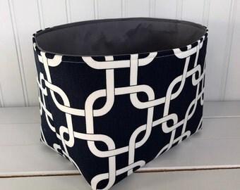 Basket, Bin, Organizer Storage Bin, Nursery Decor, Diaper Storage, Fabric Bin, Fabric Basket, Home Decor, Geometric, Navy Blue, Gray, Grey