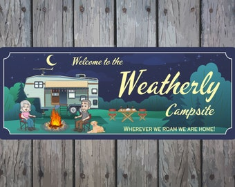 Custom RV Camper Sign With Cartoon Couple, Firepit and Picnic Table and Dog, Campsite Sign, Camp Décor, Custom RV Sign C1384