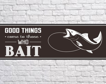 Novelty Fishing Sign with Funny Quote and Fish on a Hook, Boating Sign, Boating Décor, Fishing Décor, Fish Sign, Fishing PM538