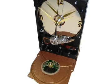 Geek Gift? Computer Hard Drive Clock, Hammered Copper Base with Circuit Board Accent, unique Gadget.