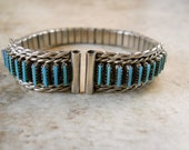 Women's Turquoise Zuni Petite Style Sterling Silver Watch Tips with Band