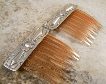 Sterling Silver Decorative Hair Combs Pair
