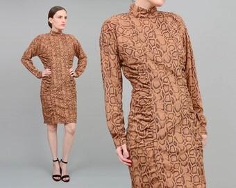 80s 90s Brown Snake Skin Dress | Body Con Dress | Bandage Wiggle Dress | Long Sleeve Party Dress | Python Print | Mock Turtleneck | Medium M