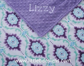 Personalized Baby Blanket - Flouris Purple and Aqua Minky with Jewel Purple Minky