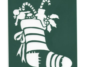 Stencil Christmas Stocking Green Plastic New