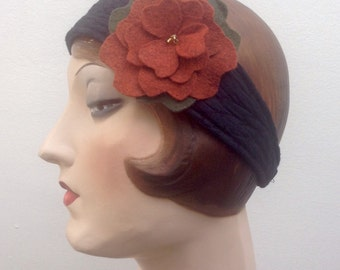 Headband with removeable felt flower. Free shipping in the US. Boho. Flapper.