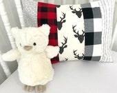 Pillow Cover, Nursery Decor, Baby Bedding, Baby Boy, Cushion Cover, Lumberjack, Buffalo Plaid, 12 x 16 Inches, Grey, Gray, Black, Red, Deer
