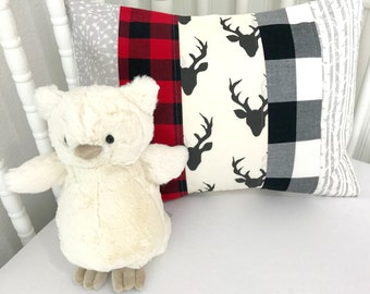 Pillow Cover, Woodland Nursery Decor, Lumberjack, Buffalo Plaid, Nursery Pillow, 12 x 16 Inches, Grey, Gray, Black, Red, Deer, Arrows, Buck
