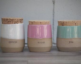 Stoneware jar - kitchen canisters - kitchen storage - stoneware jam jar - kitchen canister set - housewarming gift - storage kitchen