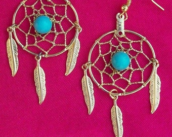 """ON SALE DREAM Catcher Earrings with Gold, Turquoise and three feathers 1"""" Dream web, dreamcatcher earrings gold or silver with turquoise"""