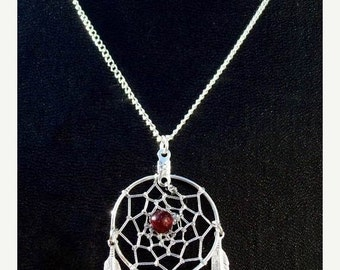 "ON SALE BELLA ll (Necklace)  Dream catcher necklace with garnet 1"" Dream web"