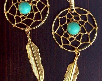 ON SALE Gold Dream catcher earrings - long with Turquoise and golden feather- SUN & Sky series Larger version 3-inches