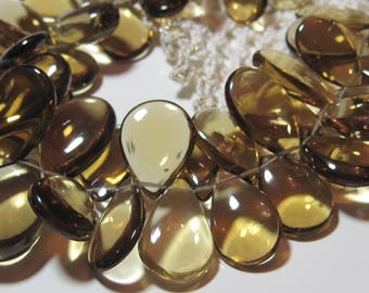 12 Beads Set - Extremely Beautiful BEER QUARTZ Polished Smooth Long Pear Briolettes