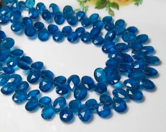 "4"" Strand -  Sparkling Peacock Blue APATITE Faceted Pear Briolettes"