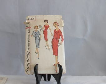 Womens  Junior Vintage 1950s Simplicity Printed Dress  Pattern Size 15 Bust 35  style  2841  Madmen Rockabilly Wiggle Dress and Jacket