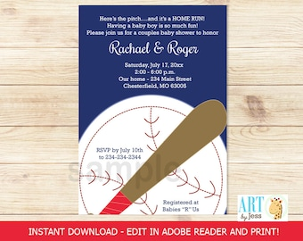 Baseball Baby Shower Boy Sports Invitation | Co-Ed Couples Shower Editable Text INSTANT DOWNLOAD Print your own PDF