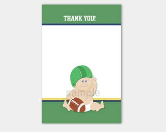 Football Baby Sports Matching Flat Card Thank you Note, Size 4x6 INSTANT DOWNLOAD bs-058