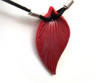 Pomegranate Red Leaf Necklace, Pearl Highlights, Polymer Clay Pendant, Sculpted Leaf, Black Cord, Silver Plated Wire, Customizable