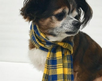 Pet Dog Scarf- Cozy soft Flannel Blue and Yellow Plaid