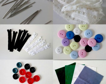 Studio Destash! Assorted Craft Supplies - Felt Squares , Lace, Embroidery Needles, Buttons, Zippers, Haberdashery Essentials