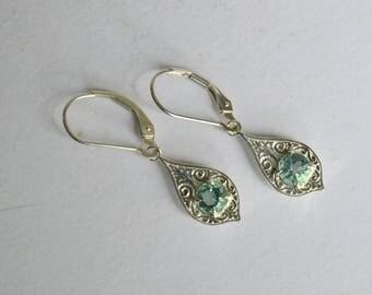 Blue dangly earrings, silver engraved earrings, Flourite dangly earrings, Flourite earrings, blue gemstone earrings, Penelope earrings