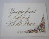 Vous êtes aimé par Dieu. Être en paix - lot de 5 cartes pliées
