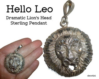 Are You a Leo? Sterling Silver Lion's Head Vintage Pendant. Dramatic Ferocious Lion with Open Mouth. Two Inches w/Bale. 10 Grams.