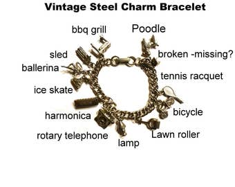Vintage Charm Bracelet Silver Toned Steel Metal. 11 Charms, Poodle,Ballerina, Harmonica, Skate, Phone, Sled, BBQ Grill with tiny Burgers