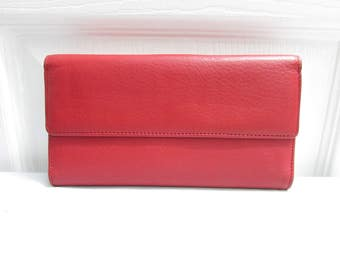 Vintage Red Tri Fold Pebbled Genuine Leather Wallet - Currency Ids Credit Cards Coins Compartments