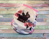 One Size OS Chocolate Bunny Easter PUL Cloth Diaper Cover With Snaps or Aplix hook and loop.