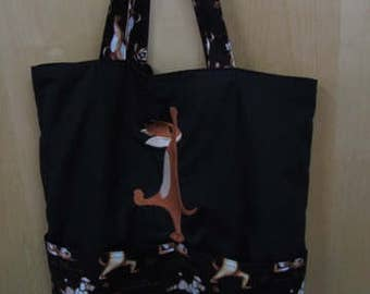 Stretching Yoga Dog Eco Friendly Tote Bag, Shopping Bag, Reusable Bag or Trick or Treat Bag