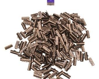 500 pieces  16mm (5/8 inch)  Antique Copper Ribbon Clamp End Crimps - Artisan Series