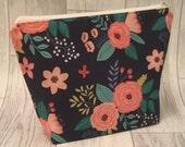 Project bag floral pouch zipper bag cute yarn bag crochet knitting project
