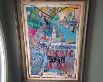 Collage Art Original Paris Inspired Art Piece Framed Unique Outsider Art Vintage Poppy Cottage
